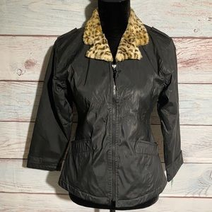 Big Chill black leopard collar fitted jacket.